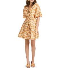 women's sachin & babi daria dot ikat puff sleeve eyelet fit & flare dress, size 12 - beige