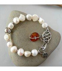 -perły hodowlane i bursztyn-bransoletka-