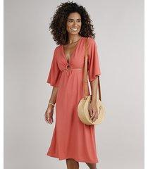 vestido feminino midi canelado com vazado manga 3/4 coral