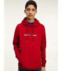tommy hilfiger men's fleece logo hoodie wine red - s