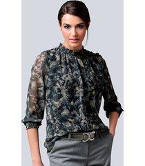 blouse alba moda groen::zwart::grijs