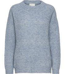 05 the knit pullover stickad tröja blå denim hunter