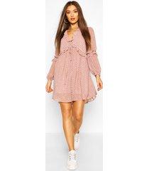 gesmokte jurk met paisleyprint en ruches, roze