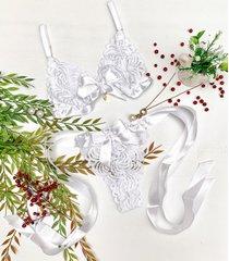 conjunto ãgua viva lingerie rendado com fita de cetim branco - branco - feminino - renda - dafiti