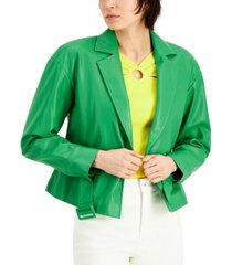 inc faux-leather belted jacket, created for macy's