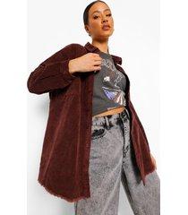 oversized corduroy blouse met onbewerkte zoom, chocolate