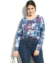 shirt m. collection blauw::terracotta