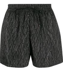 salvatore ferragamo printed lettering logo swim shorts - grey