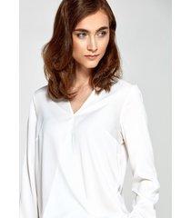 bluzka z kopertowym dekoltem ecru