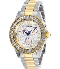 reloj invicta acero dorado modelo 284kr para dama, colección angel