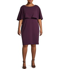 plus ruffled cape-sleeve knee-length dress
