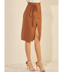 yoins falda midi con dobladillo con abertura en marrón y diseño de botones