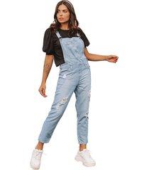 macacã£o jardineira jeans le julie - jeans - feminino - dafiti