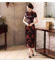 traditional chinese women's silk satin mini dress cheongsam qipao black sz