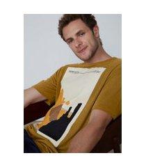 camiseta masculina comfort com linho e silk - amarelo