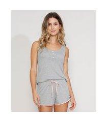 pijama feminino com botões e amarração regata cinza mescla