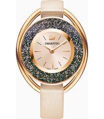 orologio crystalline oval, cinturino in pelle, beige, tono oro rosa
