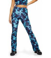 petite women's topshop tie dye velvet flare trousers, size 10p us - blue
