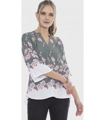 blusa manga 3/4 ancha cuello mao lila curvi