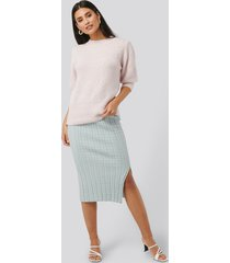 na-kd trend knitted pencil skirt - blue