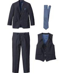 completo (4 pezzi) giacca, pantaloni, gilet, cravatta (blu) - bpc selection