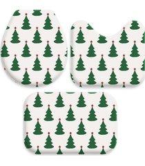 jogo tapetes love decor para banheiro pinheiros de natal off white