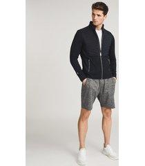 reiss arena - hybrid zip through jacket in navy, mens, size xxl