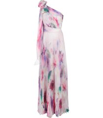 marchesa notte one shoulder floral print chiffon gown - pink