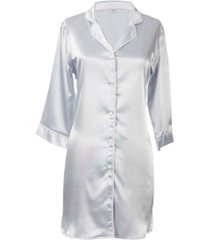 cathy's concepts personalized silver satin night shirt in l/xl