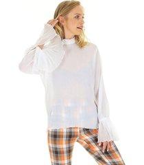 blusa aha plissada manga longa com babados no punho e abertura nas costas off- white