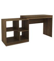 mesa escritório c/ nichos castanho djd móveis marrom