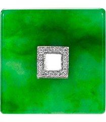 diamond jade 18k white gold square pendant