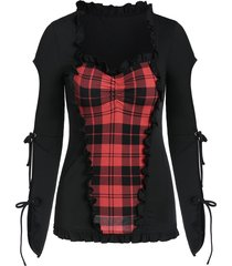 bowknot split sleeve plaid print ruffle gothic t-shirt