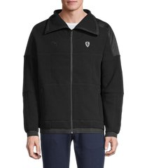puma ferrari men's scuderia rct fleece jacket - black - size s