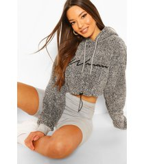 woman embroidered fleece crop hoodie, charcoal