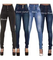 women's ladies fashion sexy high waist stretch pencil denim pants slim skinny je