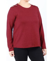 sweater bordó minari botones plus size