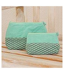 cotton cosmetic bags, 'spring blooms' (pair) (guatemala)