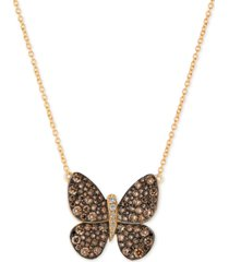 le vian chocolatier diamond butterfly pendant necklace (1-7/8 ct. t.w.) in 14k rose gold or yellow gold.