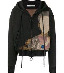 off-white jacquard knit hooded jacket - black