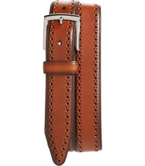 men's johnston & murphy perforated leather belt, size 42 - tan
