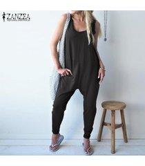 zanzea mujeres sin mangas sin respaldo mono suelto para mujer casual playsuit pantalón largo -gris oscuro