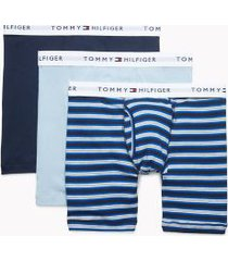 tommy hilfiger men's cotton classics boxer brief 3pk navy blazer/true blue stripe/blue fog - xl