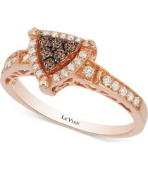 neo geo le vian chocolatier chocolate and vanilla diamond triangle ring (1/3 ct. t.w.) in 14k rose gold
