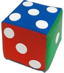 cubo dado com pontos redondos em espuma colorida 16x16x16cm - multicolorido/vermelho - dafiti