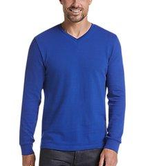 joe joseph abboud blue slim fit v-neck knit sweater