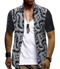 abstract printed short sleeves shirt