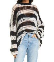 women's rag & bone sadie stripe oversize open knit sweater, size x-small - black