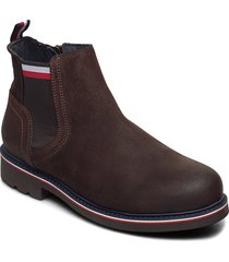 corporate elastic suede boot shoes chelsea boots brun tommy hilfiger