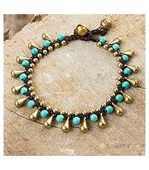 calcite and brass beaded bracelet, 'summer's charm' (thailand)